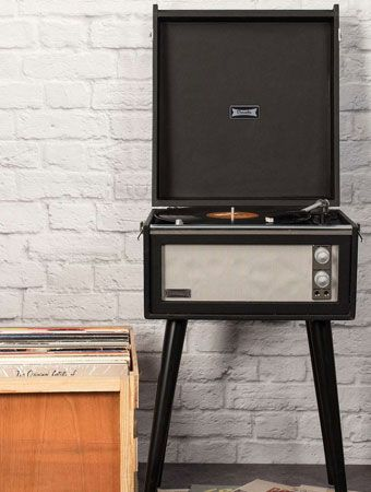 Back in black: UO X Dansette record player with legs returns in a monochrome finish
