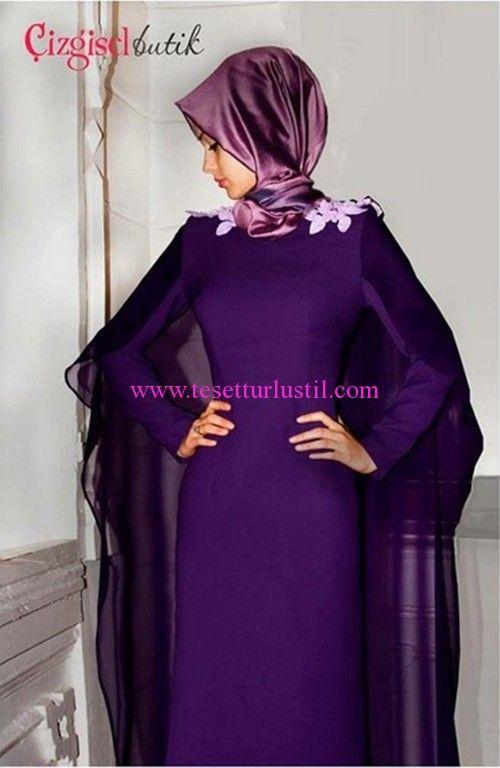 Çizgisel butik Mor Pelerinli Abiye Elbise