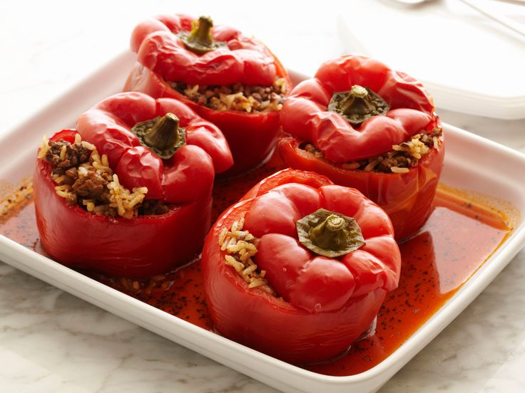 Recipe of the Day: Lightened-Up Stuffed Peppers Thanksgiving is less than a week away, but you still gotta eat. Loaded yet light, these hearty bell peppers overflow with a filling of lean ground beef, lentils and rice. Bake in the oven until the peppers droop with tenderness and you'll end up with an all-in-one dinner that's stuffed to the brim.