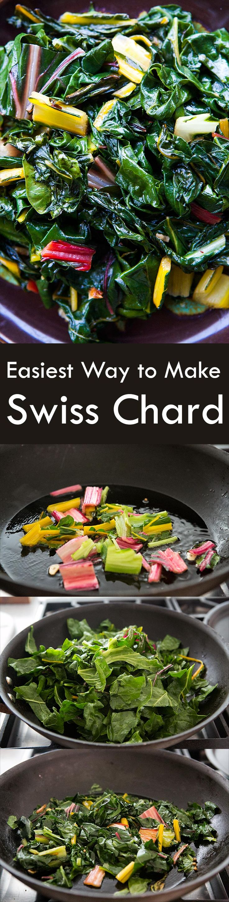 Easiest way to make Swiss chard! Just sautée in olive oil with garlic and crushed red pepper. On SimplyRecipes.com