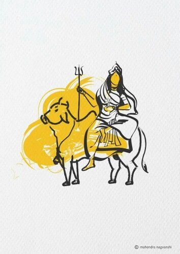 Maa ShailPutri 1st Swaroop of Durga Out of 9 Durga Artist Mahendra Nagvanshi