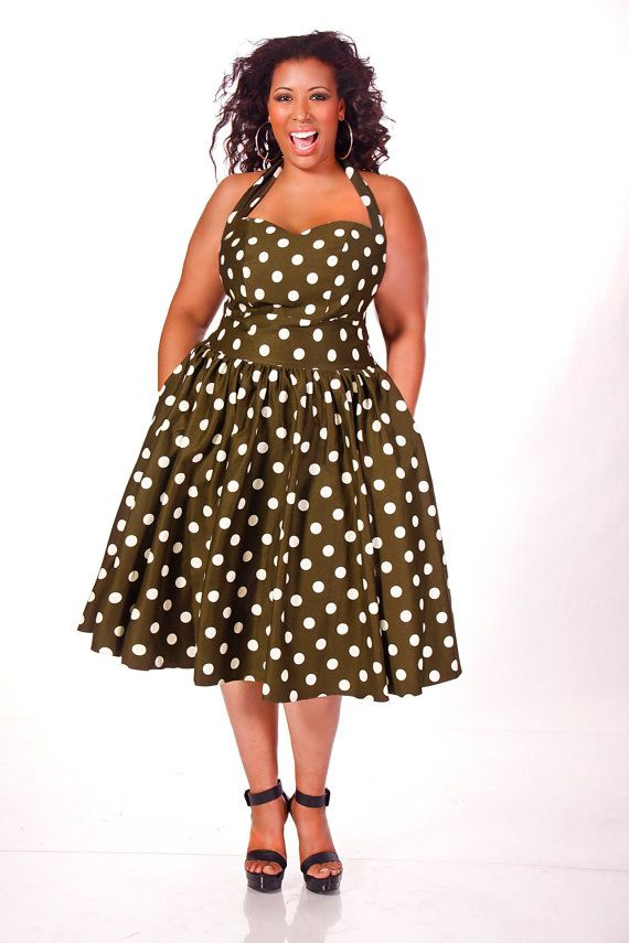 Curvy Fashionista Black Polka Dot Dress JIBRI Plus Size Polka Dot