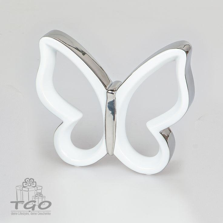Formano Deko-Schmetterling silber aus Steingut mit glasierter Oberfläche 15cm
