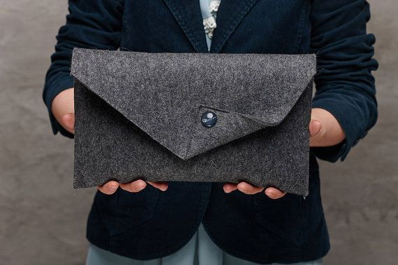 Dark grey Merino wool felt clutch bag grey large by FeltinLoveBags