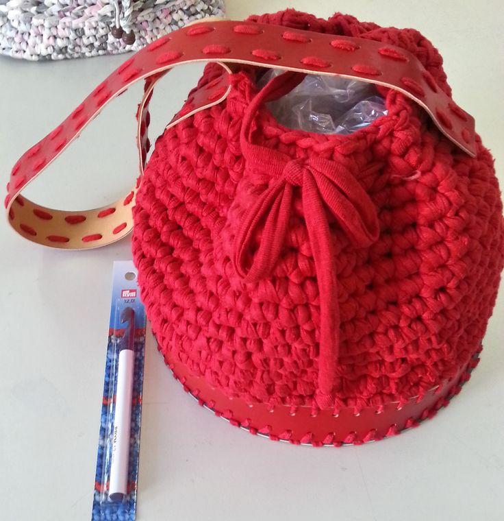 Τσάντα πλεγμένη με βαμβακερό ρέλι