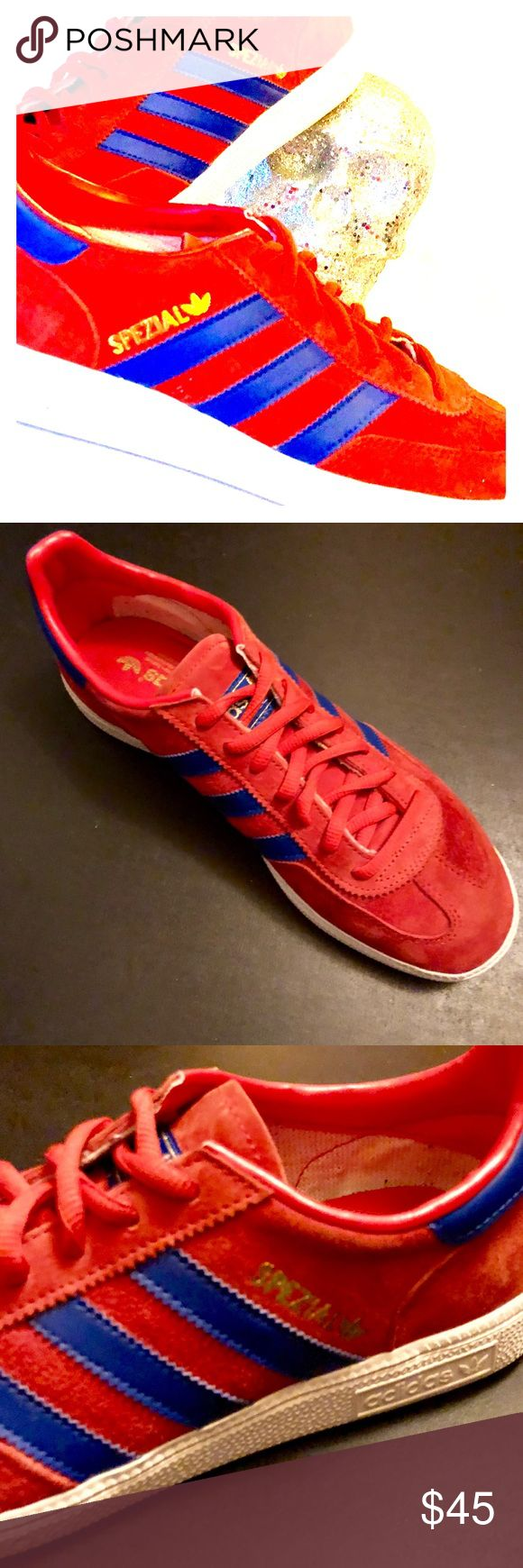 💙Men's Adidas Handball Spezial Sneakers❤️ Men's Sz 9, Trefoil Edition, indoor kicks, EUC & basically in like new condition.   They feature a synthetic lining & the collegiate red pigskin suede upper & the requisite 3 stripes on the side in royal blue. Pivot point rubber outsole. Imported. Going for upwards of $60 on other platforms (see included pic) adidas Shoes Sneakers
