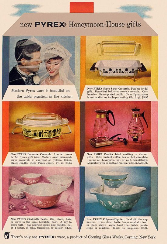 Pyrex collection - 1957 advertising.  Wedding gift ideas, starting at $2.95 ~ love it!