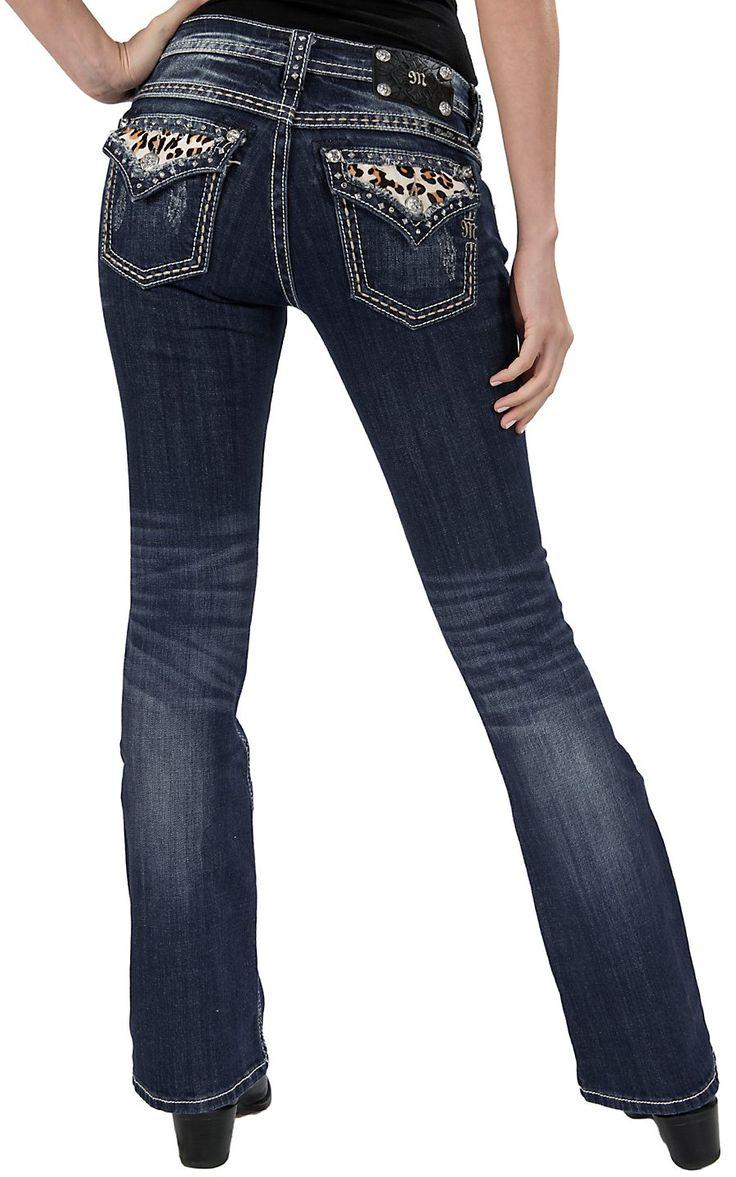 Miss Me® Women's Medium Stonewash with Leopard Cowhide Flap Pocket Boot Cut Jean