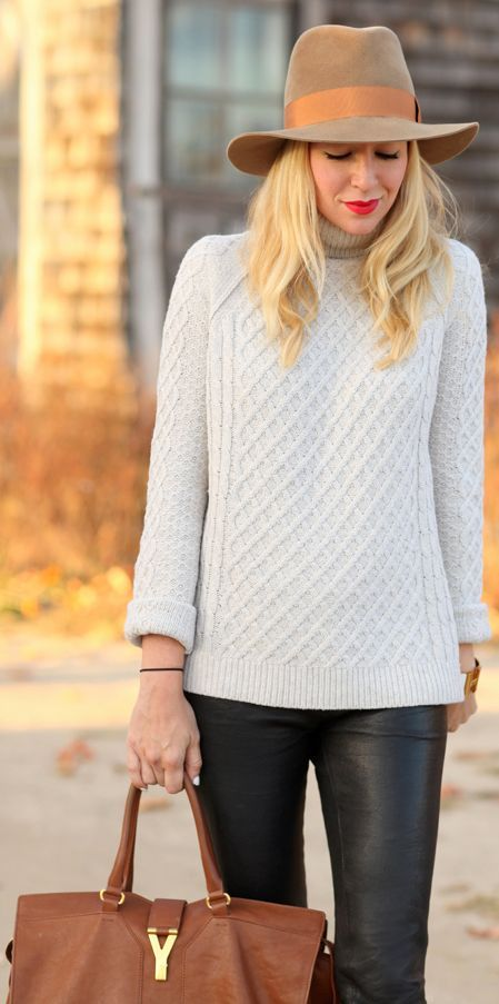 #Knits & #Leather by Brooklyn Blonde => Click to see what she wears