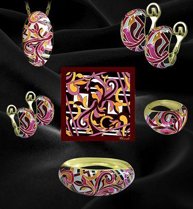 Коллекция ювелирных изделий из серебра с горячей эмалью Чиринели Богема