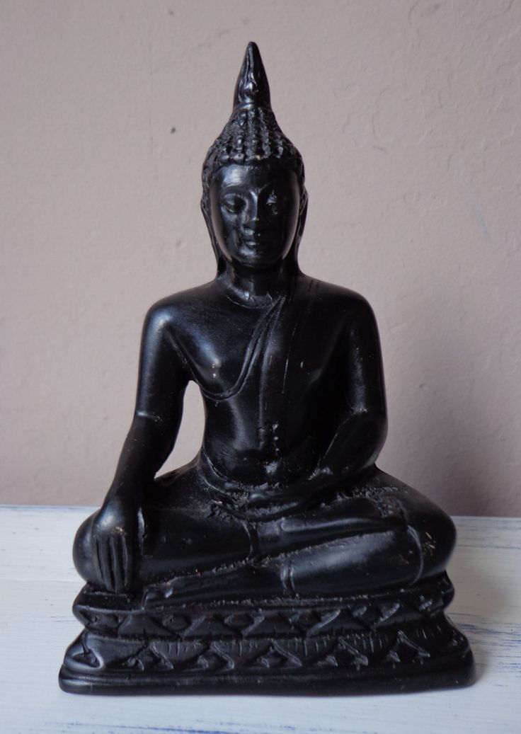Vintage Statue Of Seated Buddha - Single Lotus Position, Calling The Earth To Winess, Touching Earth Buddha, Vintage Buddha Figure by OnyxCollectables on Etsy