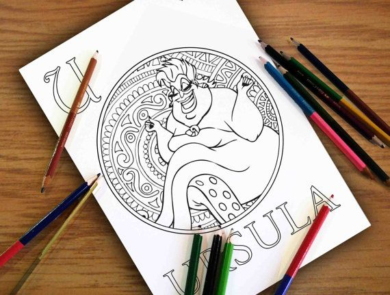 disney coloring pages ursula gift for kids zentangle