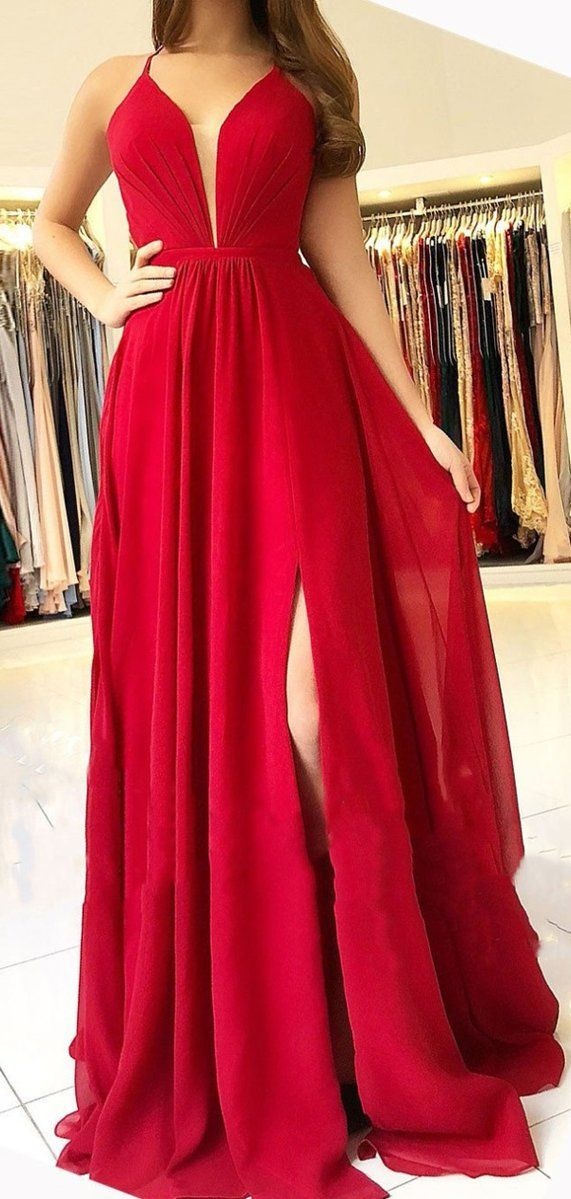 4b820bf2866 Sexy Bright Red Halter Side Slit Long Evening Prom Dresses