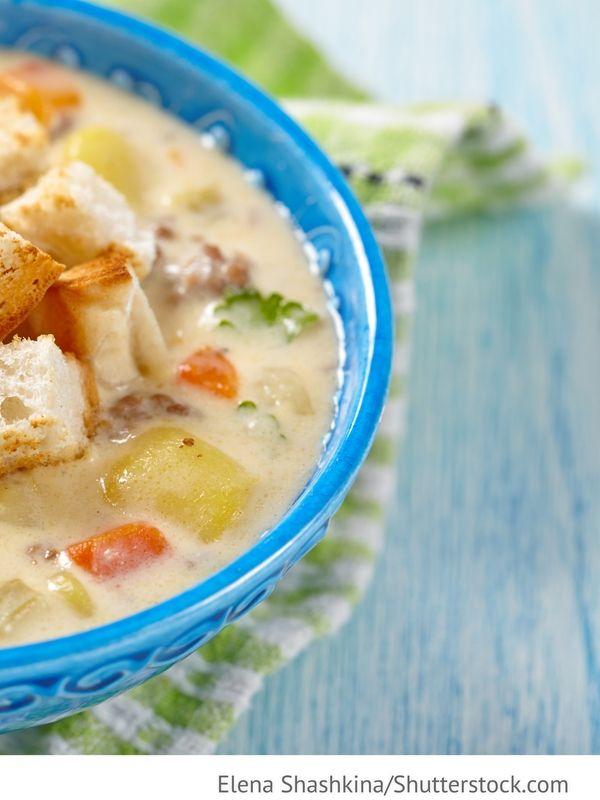 Frischkäse Suppe Syrnyj krem-sup - Сырный крем-суп - Russische Rezepte