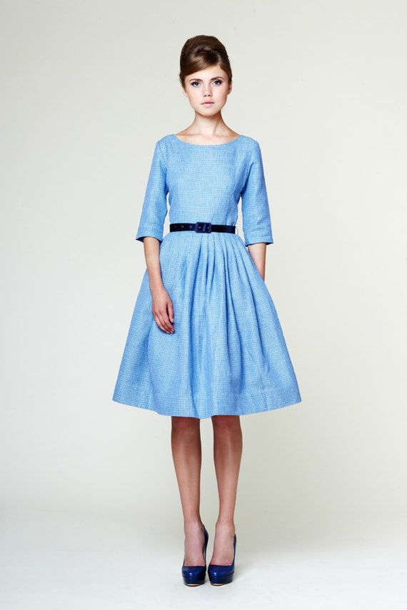 Wedding dress blue, wedding dress with colour, 1950s inspired dress, 50s inspired dress, blue tea length dress, blue plus size dress by mrspomeranz on Etsy https://www.etsy.com/listing/164280709/wedding-dress-blue-wedding-dress-with
