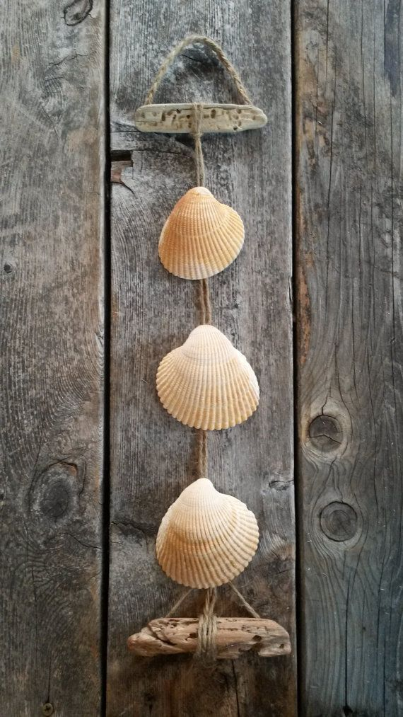 Seashell Hanging Decor Driftwood Natural white by BeachBungalowInc, $24.00  Nautical Beach House Decor, Beach Wedding Decor, Beach Wedding Favors
