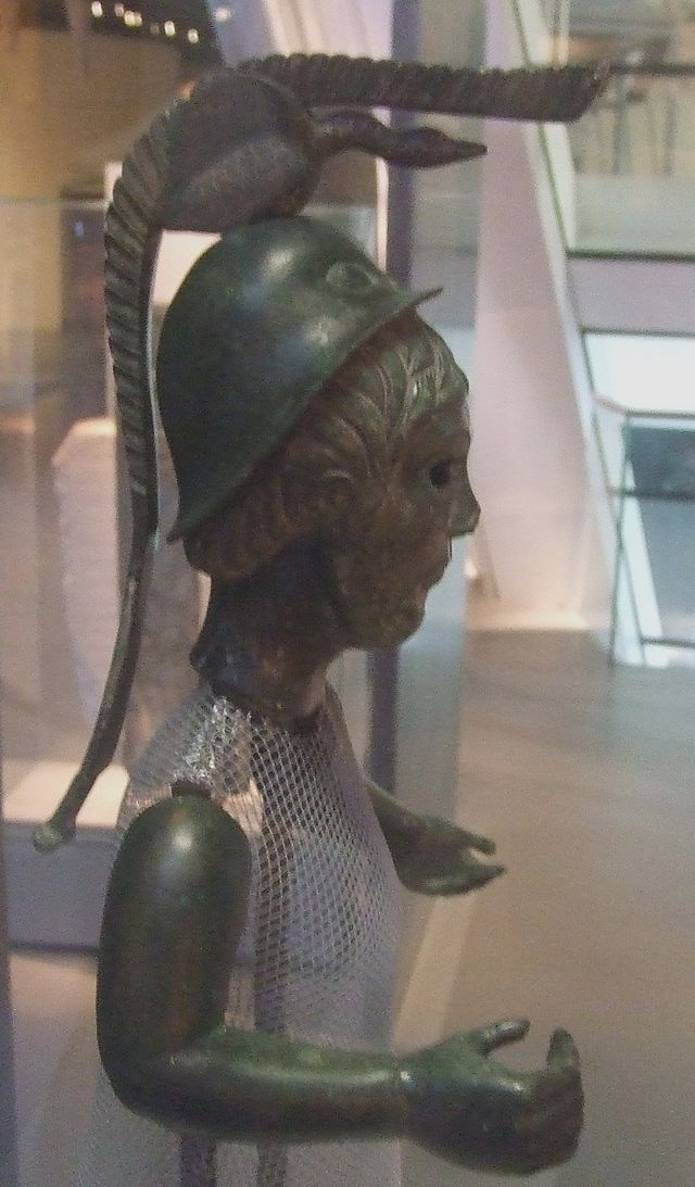 A statuette in the Museum of Brittany, Rennes, probably depicting Brigantia, an ancient Celtic goddess: c. 2nd century BCE