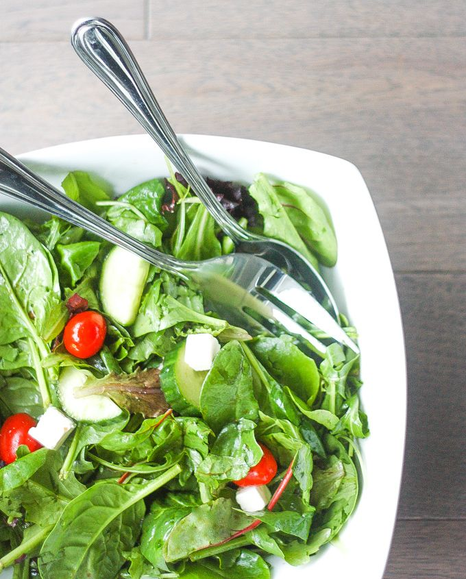 When I want to make a quick and easy salad, this mixed greens salad with balsamic vinaigrette is my go-to recipe. It makes a great side dish or light lunch.