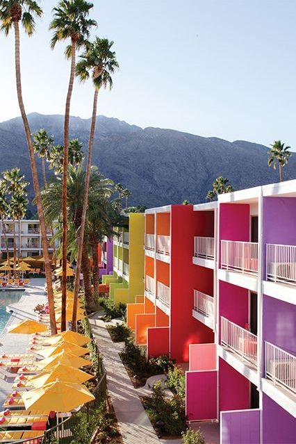 One of Palm Springs' most beloved hotels, the vibrant Saguaro is known for its massive pool, often filled with beautiful people dancing to live music or a DJ set on weekends. If you've had enough of the poolside entertainment, lounge in your room (be sure to request one with a mountain view), roam around on a hotel-provided cruiser, or take the shuttle to downtown