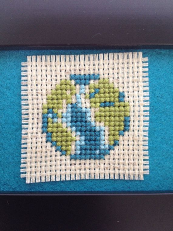 Tiny Planet Earth // Cross Stitched Planet // 3 x 4 by GypsyTrace