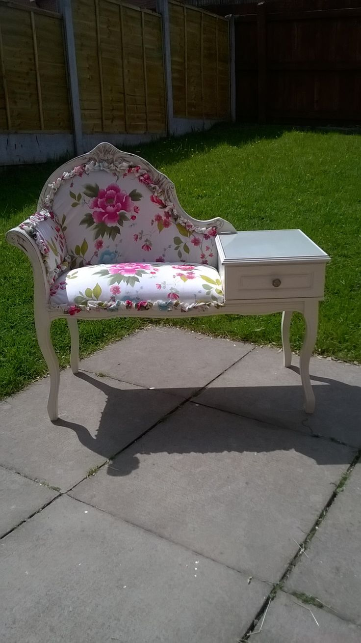 Refurbished Shabby Chic Seated Telephone Table by saminteriordesign on Etsy