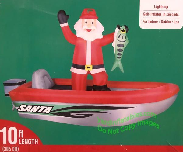 Air Blown Inflatable 10 Santa Fishing In A Bass Boat
