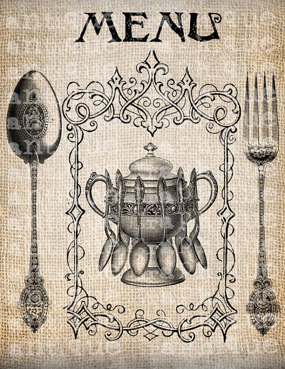 Antique Spoon Fork Menu Vintage Illustration by AntiqueGraphique