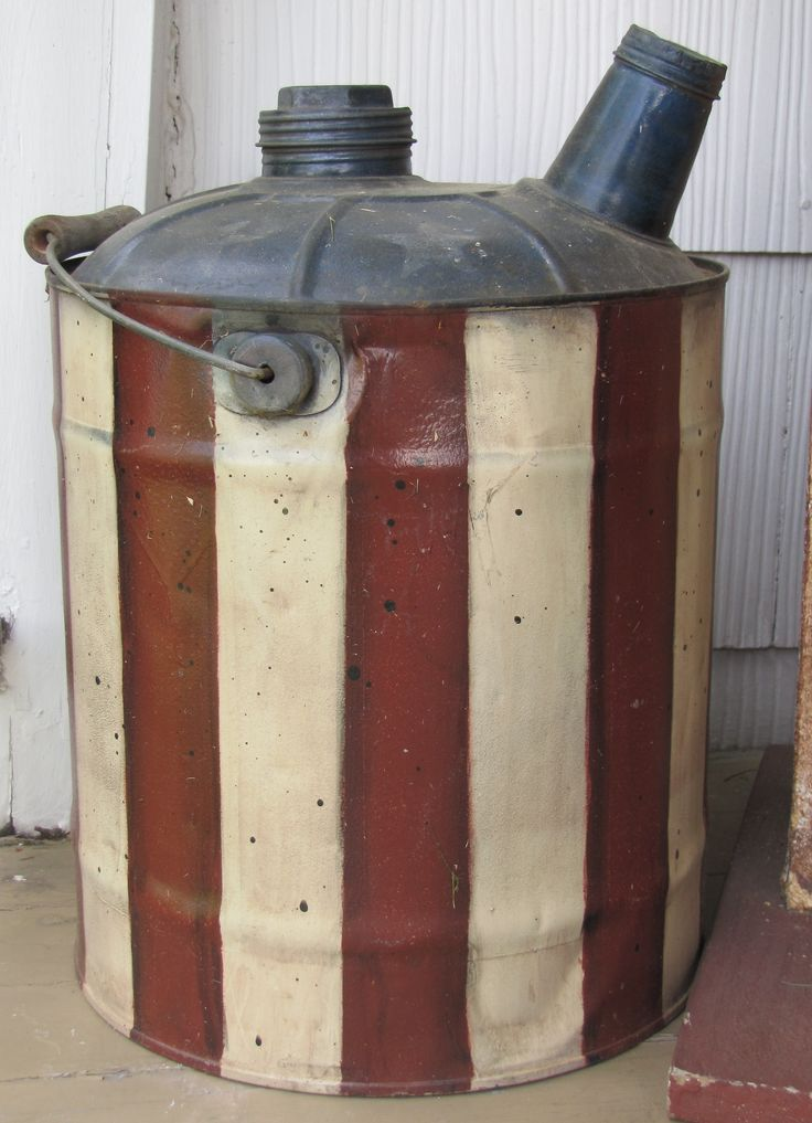 *pinner says* I rescued this gas can from a barn that was about to burned down. It was a rusty mess so I painted it Americana for my front porch!