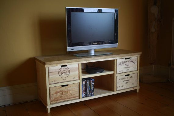Oak TV Unit / Stand / Cabinet made with rustic wine boxes - Handmade on Etsy, $490.00