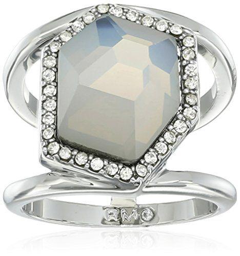 Rebecca Minkoff White Opal Large Stone Ring, Size 7