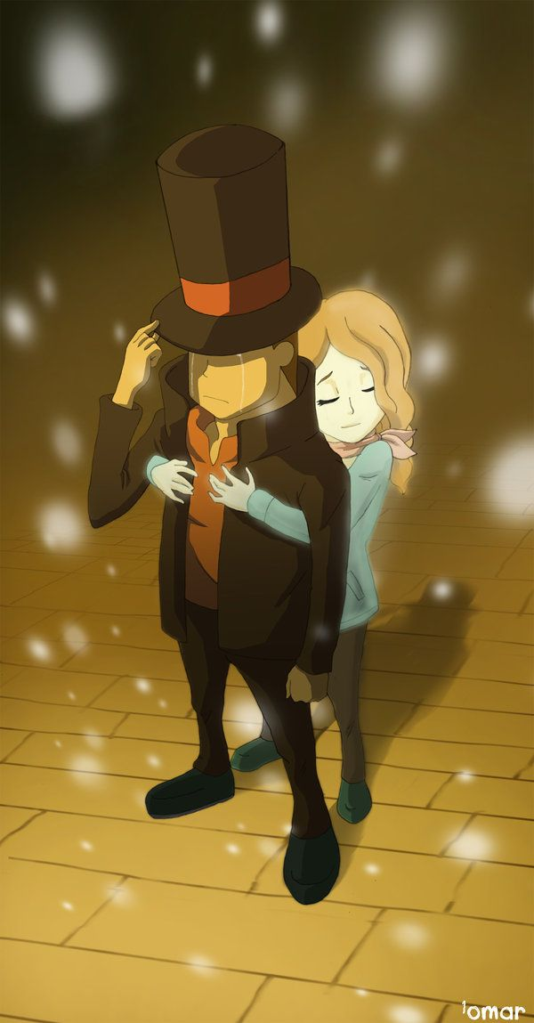 Professor Layton cries while Claire's spirit hugs him. Such a bittersweet scene. *Sniffs*