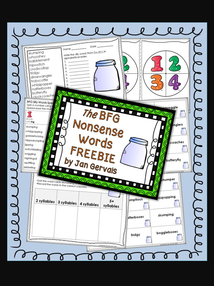3 FREE decoding activities using nonsense words from The BFG!