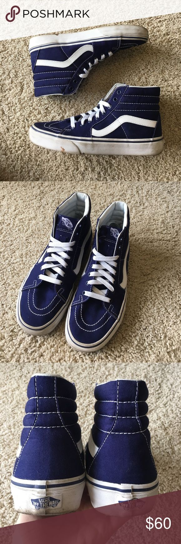 ✨NEW LISTING✨Vans navy blue high tops Excellent used condition, only worn once. Women's 8, men's 6.5. Vans Shoes Sneakers