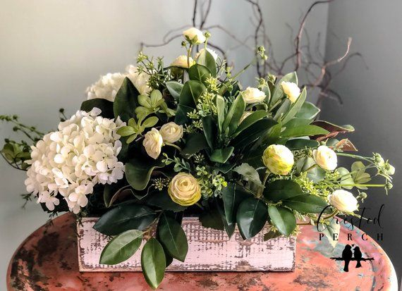 The Everly Rustic Farmhouse White Centerpiece For Tableall Etsy Flower Arrangements Wood Flower Box Flower Boxes