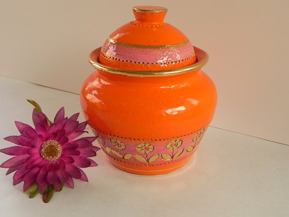 Electric Orange Bitossi Humidor Italian Pottery With Rose And Gold Accents