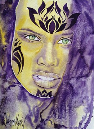 Tina, watercolour by Dakeno Mark
