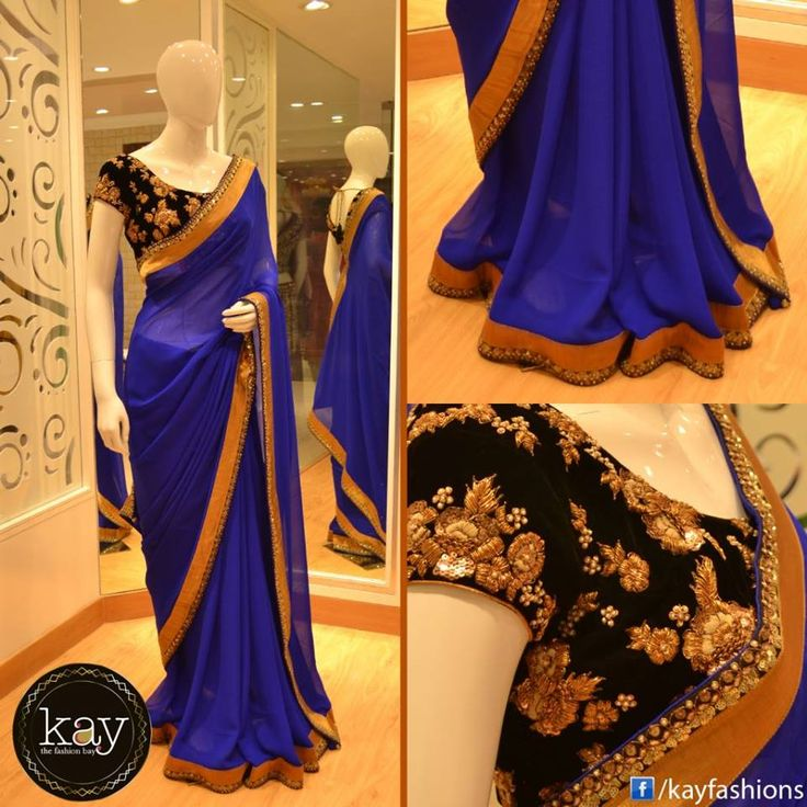 http://www.kayfashions.in/#!/ Indigo blue chiffon saree with readymade black blouse and golden patch work. The saree is plain except at the borders which has golden zari and gold threadwork.