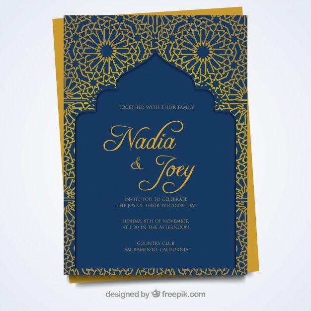 Baixe Cartao De Casamento Com Estilo Arabe Gratuitamente Wedding Invitation Card Design Wedding Invitation Card Template Wedding Card Design