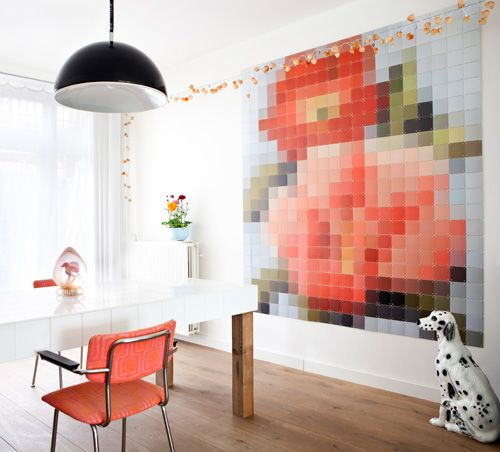 """Fun """"pixelated"""" art idea (and it's made up of small images so it can all be printed at home)."""