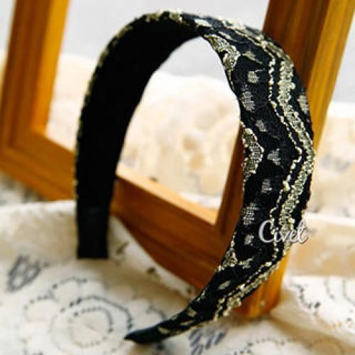 Lace Hair Band Gold - One Size