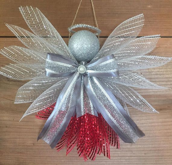 Large Angels Deco Mesh Assorted Colors Christmas Wreaths