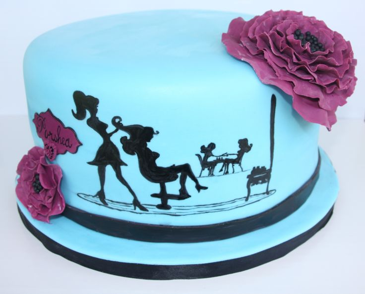 Birthday Cakes - This is for an 18 year old young lady who is graduating from beauty school soon. Her favorite colors are blue and purple. I hand painted the hair and nail salon silhouettes. Ruffle flowers and name tag are made out of gumpaste.