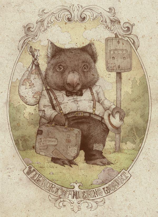 wilbur the wandering wombat, teagan white, inspired by jj grandville