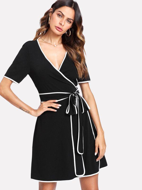 a96f031297 Contrast Binding Wrap Dress -SheIn(Sheinside)