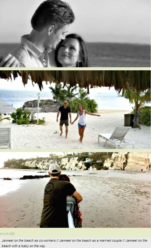 Jensen and Danneel on the beach in 10 Inch Hero, in Belize on their honeymoon, at the beach with a baby on the way :)