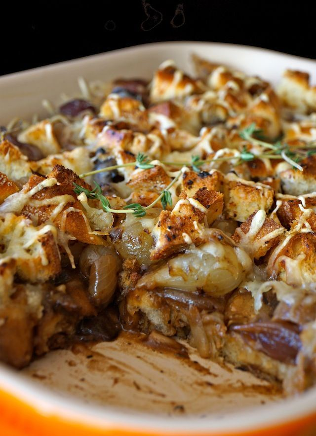 French Onion Mushroom Casserole Recipe - It's like the best bowl of French Onion Soup you've ever had, only in the form of a casserole. It's the top of the soup -- the perfectly toasted French bread, the melting Swiss cheese, the caramelized onions, and a