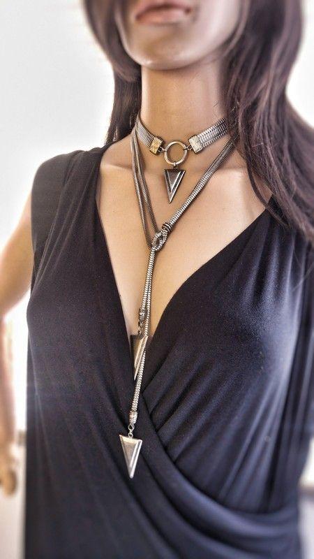 Colar Multiuso Amini, colar boho,bijoux boho, mix de colares,colar triangulos,colares atacado,colar atacado,design Beth Souza acessórios
