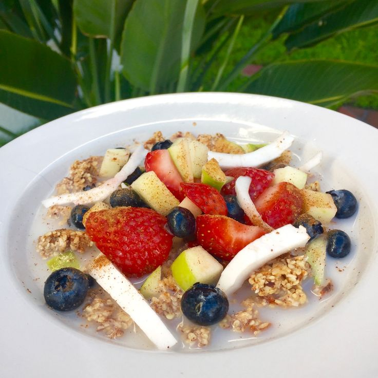 Nutola (raw nut granola) with fresh fruit and fresh coconut.
