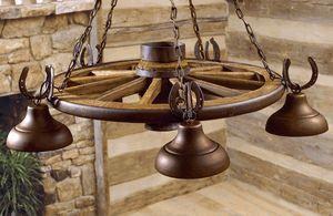 Five Bell Wagon Wheel Chandelier