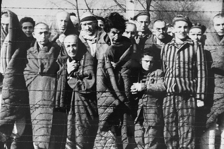 Liberated inmates of Auschwitz.